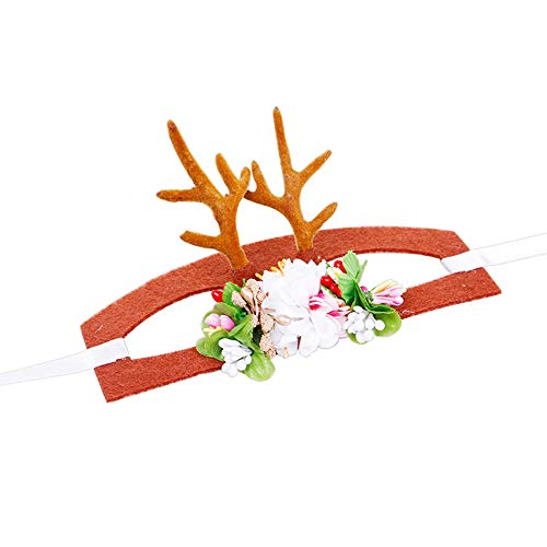 JK Weihnachtsmütze für Hunde und Katzen, Elch Rentier Geweih Hut Kappe Santa Hund Katze Kostüm Hut Kopfbedeckung Fellpflege Zubehör S 6.5 X 16.5cm