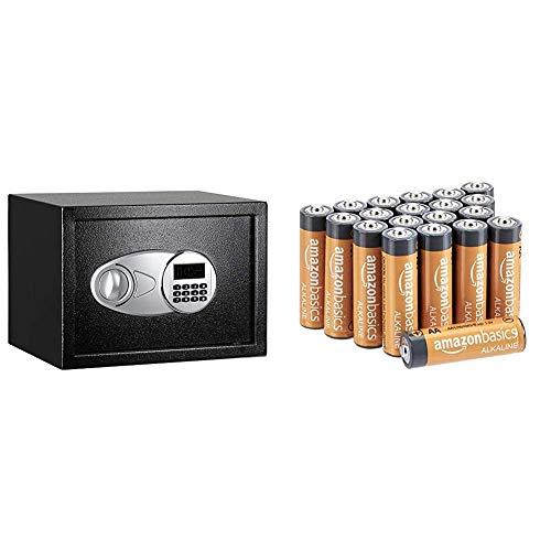 Oferta de Amazon Basics - Caja fuerte (14L), color negro + Amazon Basics - Pilas alcalinas AA 'Performance' (Paquete de 20)
