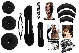 Homeoculture Combo Of 7 Hair Accessories - 3 Donuts 1 Magic Puff 1 Volumizer 1 Banana Bumpit 1 Tictac Puff