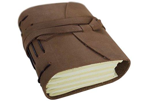 Enya Notizbuch handgefertigt in Leder gebunden Rustikales Braun Mini, blanko Seiten (13cm x 9cm x 5cm) (Leder Arten 5)