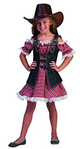 Kostüm Cowgirl Gr. 140 Komplett Kostüm Kleid rot kariert und (Kostüm Mit Jeans Cowgirl)