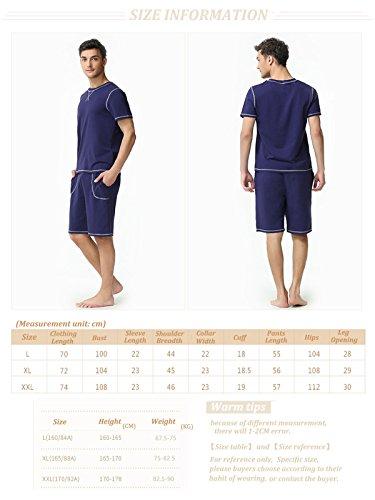 Marster Fashions Herren herren kurz nachtwäsche Schlafanzüge kurzer schlafanzug pyjama Blau