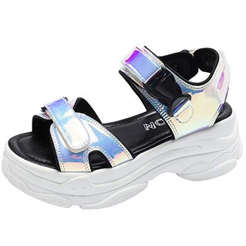 Bigsale Offener Zeh Damen Frauen Sport Plateau Sandalen Keil Aushöhlen Frauen Sandalen Außen Cool Plattform Strand Sommer Schuhe 2019 (39 EU, Weiß) (Cool Schuhe)