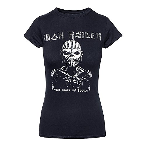 Iron Maiden Diamante Souls Tour Skinny T Shirt (Schwarz) - Large (Konzert-tour-t-shirt Top)