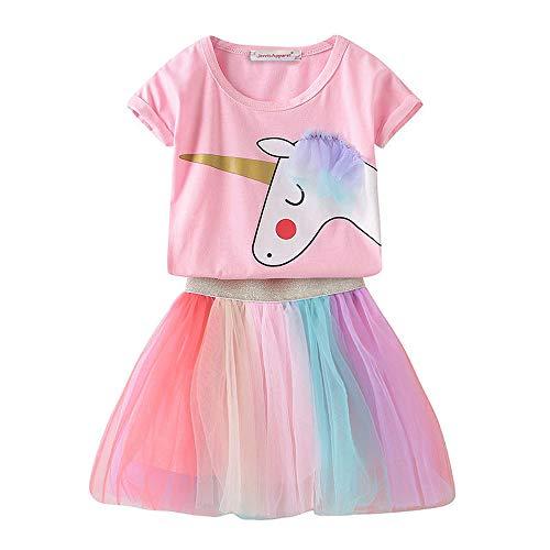 Umupi Mädchen Einhorn Kostüm Prinzessin Verkleidung Partei BlumenKleid (2T, Rosa) (Prinzessin Kostüm 2t)