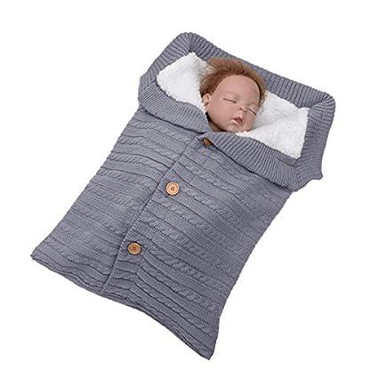 Libershine – Saco de Dormir de Punto Felpa, Unisex Swaddle Manta para con Forro Polar de Bebé Recién Nacido de 0-18 Meses para Cochecito Invierno Caliente Cómodo Asiento de Bebé