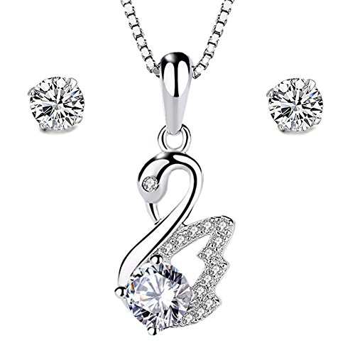 Kostüm Schmuck Silber Halskette - Damen 925Sterling Silber Zirkonia Kristall, Halskette