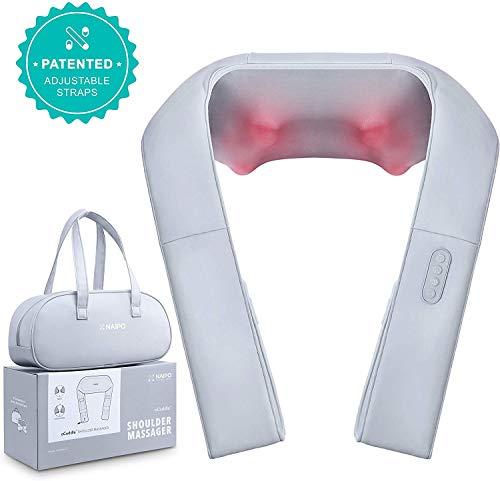 Nacken Schulter Massagegerät mit verstellbarer Armschlaufe und Wärmefunktion - Naipo oCuddleTM Elektrische Nackenmassagegerät Shiatsu 3D-Rotation Massage für Haus Büro Auto