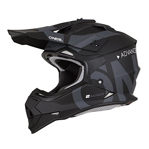 O'Neal 2Series RL Slick Motocross Helm MX Enduro Gelände Quad Cross Motorrad Bike Schutz, 0200-SAdult, Farbe Schwarz Grau, Größe L