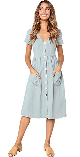 ALAIX Damen Elegantes V-Ausschnitt Kleid Kurzärmeliges Freiteit Sommerkleider für Damen Weinrot-XL