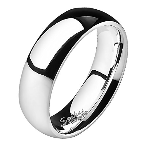 Mianova Band Ring Edelstahl Bandring Ehering Herrenring Damenring Partnerring Verlobungsring Damen Herren Silber Größe 55 (17.5) Breit 6mm
