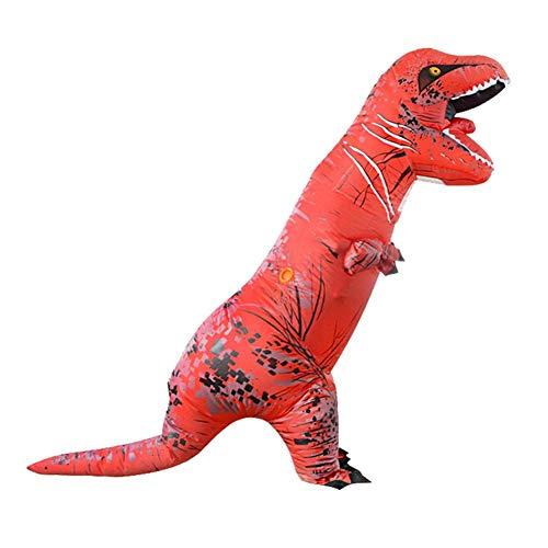 (Foru-1 Aufblasbares Dinosaurier-Kostüm für Erwachsene, Halloween, Cosplay-Anzug, Rot)