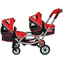 Decuevas Toys - Set con coche y silla plegable para muñecas gemelos, con manoplas, 45x100x75 cm