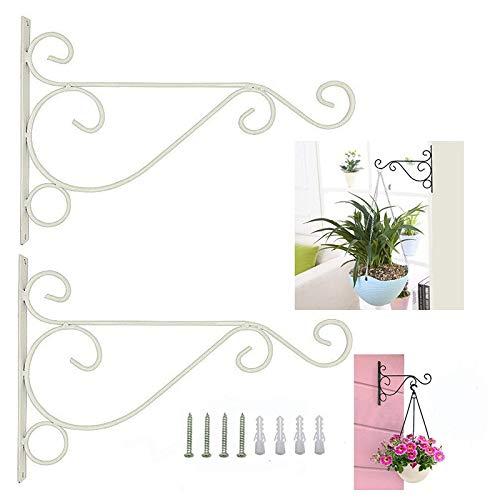 Dproptel 2 Stücken Pflanzen Haken Wandhalter Blume Ständer Haken Blumenampelhalter für Laterne, Hanging Basket, Befestigung für Hängekörbe (Weiß)