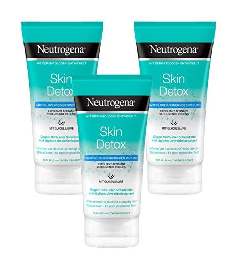 Neutrogena Skin Detox Hautverfeinerndes Peeling, sanftes Waschpeeling mit Glycolsäure (3 x 150 ml) -