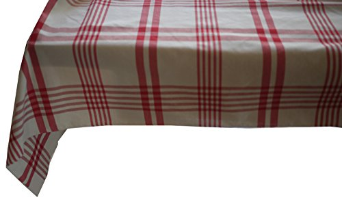 Linder à Carreaux Polyester, Rouge, 145x240 cm
