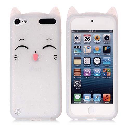 ple iPod Touch 6. Generation, strapazierfähig, stoßfest, mit Strasssteinen, Hybrid-Schutzhülle aus Silikon für Apple iPod Touch 5 6. Generation, weiße Katze ()