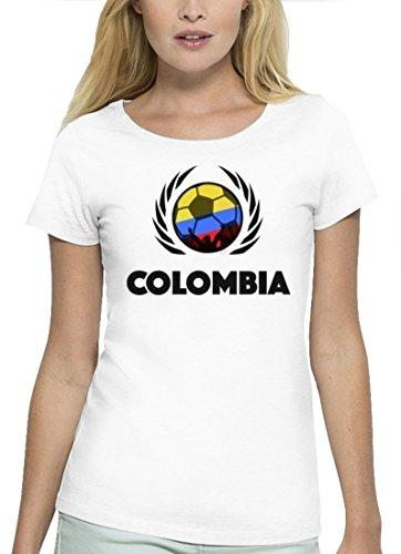 ShirtStreet Colombia Fussball WM Premium Fanfest Damen T-Shirt Bio Baumwolle Stanley Stella Fußball Kolumbien White