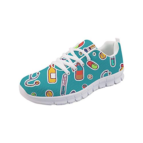 Nopersonality Women's Trainers Dental Equipent Pattern Lightweight Running Sneakers Lace-up Mesh Walking Shoes