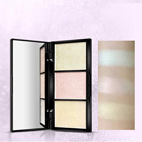 Allouli 3 Colors Highlighter Palette Bronzer Pressed Powder Shadow Natural Makeup Glow Kit Brighten Illuminator -