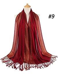 ZXXWJ Sparkly Femmes Coton Imprimé Floral Lurex Foulard Hijab Glands Châles  Foulards De Bonne Qualité Turban b66e1bd6c55