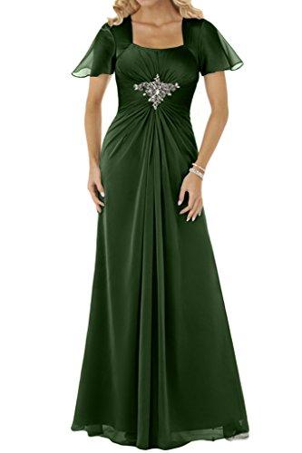 Ivydressing Damen Beliebt Kurz Aermel Chiffon Lang Festkleid Promkleid Partykleid Abendkleid Dunkelgruen