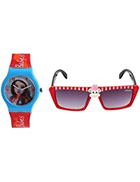 Fantasy World Light Blue Watch And Red Sunglass Combo For Boys And Girls