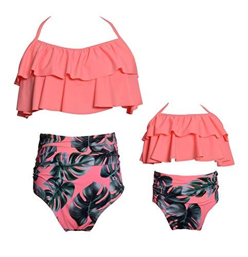 Vawal Kleinkind Baby Mädchen Bikini Badeanzug Set Mutter Tochter Sexy Familie Badebekleidung Strandkleidung (S, Orange) -