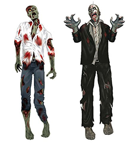 Party Dekoration Online (erdbeer-party - Halloween Dekoration Party blutige Zombies 2 Stück, 150cm,)
