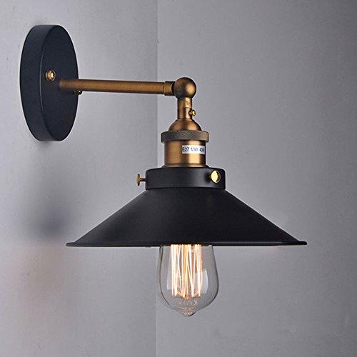 Cozyle 22cm Cobre Industrial Metal Vintage lámpara de pared Pantalla Negro