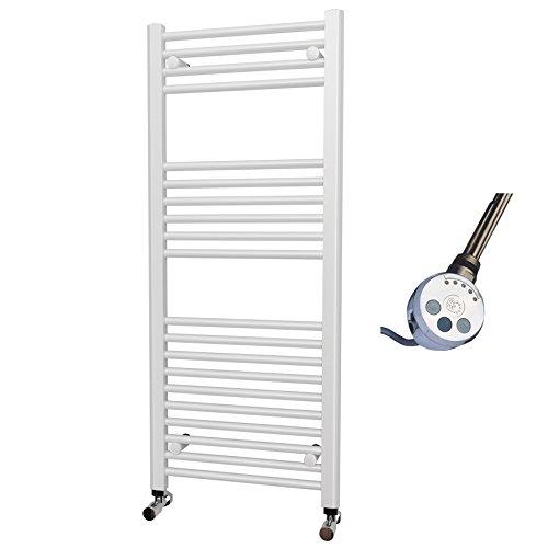 Elettrico Bianco Dritto Porta asciugamani riscaldato 1200X 500mm, elemento termostatico