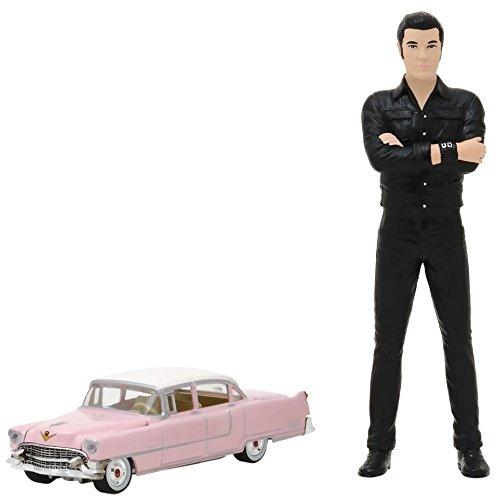 Greenlight Collectibles–Cadillac 1641955+ Figura Elvis Presley, 29898–18, Negro, en Miniatura (Escala 1/18