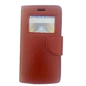 Avzax Premium Leather Window Flip Case Cover for Micromax Canvas Juice 3+ Q394 (Brown)