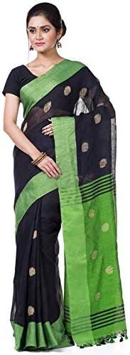 T.J. SAREES Women's Bengal Handloom Linen Ball Buta Sarees with Blouse Pieces (Black)