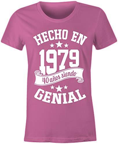6TN Mujeres Hechas en 1979 40 años de ser Impresionante 40 cumpleaños Camiseta (Grande (L), Rosado)