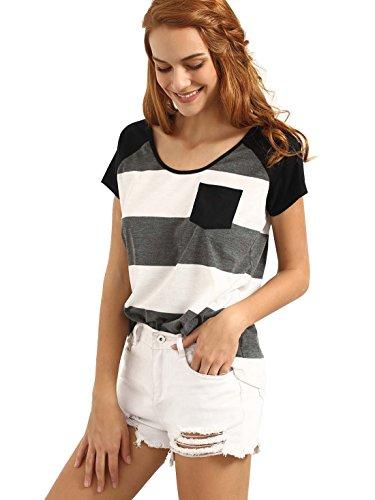 Romwe Damen Farbblock Baumwoll T-Shirt mit Tasche Streifen Sommer Top Oberteil Grau XS