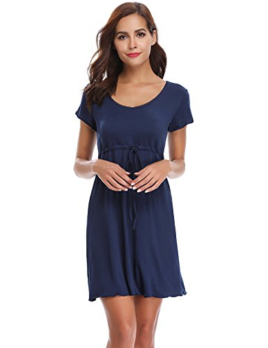 Aibrou Damen Sommer Modal Nachthemd Rundhals Nachtkleid Knielang Umstandskleid Stillnachthemd