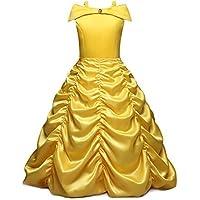 vestido de princesa hermosa belleza traje de bestia niña carnaval vestido amarillo 03