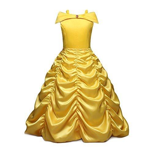 NNDOLL vestido de princesa hermosa belleza traje de bestia niña carnaval vestido amarillo 03