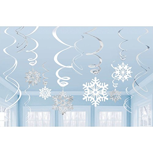 2 Packs Of 6 Hanging Snowflake Swirl Decorations For Frozen Themed Parties