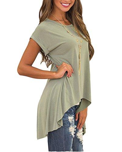 Damen T-shirt Einfarbig Shirt Bluse Mit Rundhals Klassisch Rundhalsshirt Kurzarm Tops Unregelmäßig Grün