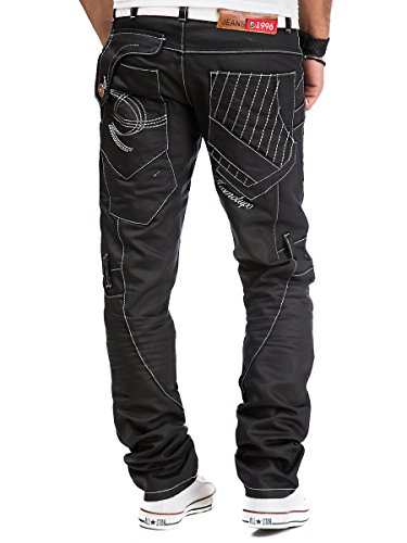 Kosmo Lupo - Jeans - Jambe droite - Homme Noir Noir Schwarz - KM130-1