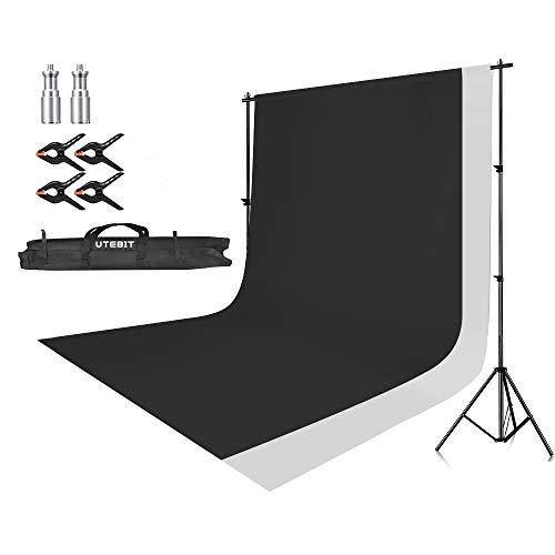 UTEBIT 2,6M x 3M Hintergrund Ständer-Support-System mit 1,8M x 2,8M Hintergrund (weiß & schwarz) für Portrait, Produkt Fotografie und Videoaufnahme Hintergrund System