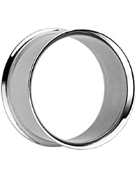 Treuheld®   Silberner Flesh Tunnel - 30 Größen: 1.6 - 50mm - Superdünner Rand - kein Gewinde - double Flare Piercing Ohr Tunnel aus silberem Chirurgenstahl 316L (nickelfreier Edelstahl) - dünn & silber