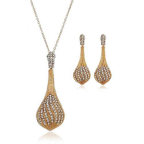 14EU-Haucalarm Schmuck Persönlichkeit Einfache Hohl Diamant Set Halskette Ohrringe Schlüsselbein Kette Einfache Legierung Diamant Frauen Ohrringe + Zubehör Wasser Welle Kette (Color : Weiß) -