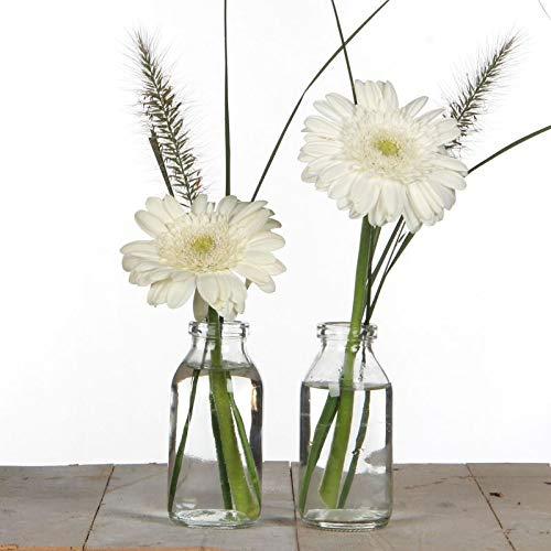 Glasflasche RUKA - 32 Stück - 10,5 cm - Glasvase - Tischvase - Klar - Tischdeko für Hochzeit, Taufe, Geburtstag, Gartenparty, Jubiläum, Kommunion, Konfirmation