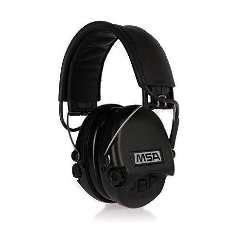 MSA Sordin Supreme PRO - Aktiver Profigehörschutz mit Standardkissen, Ausführung: schwarzes Lederband - schwarze Cups