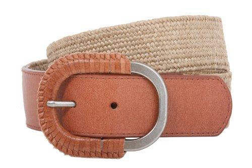 Semi-covered Elastic Raffia Woven Genuine Leather Stretch Belt Size: M/L:30