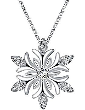 B.Z La Vie Halskette Frau Anhänger Schneeflocke rhodiniert Kristall Weiße Kette 45cm