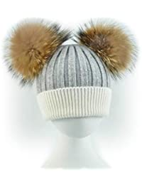 BrillaBenny Cappello Cashmere Doppio PON PON Pelliccia Bianco   Grigio  Adulto o Bambino (Donna o Bambina) Cappellino Cuffia Hat Fur… 4602c4041d9b
